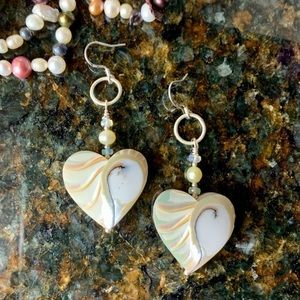 Large double sided nautilus shell heart earrings